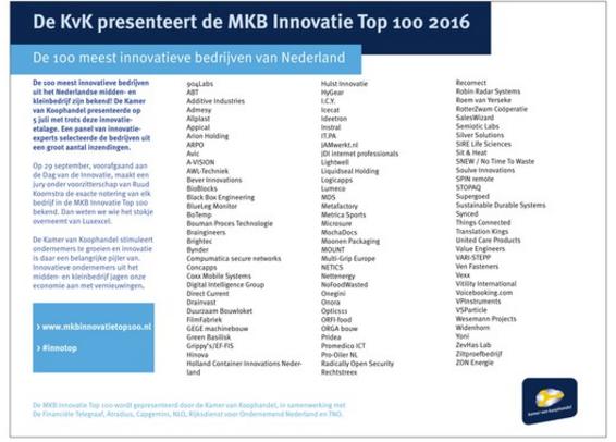 Nominatie MKB Innovatie top 100